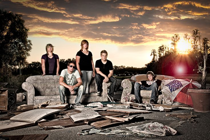 """Composite of Christian rock band GlorySound Composite of 3 separate images (subjects, sky, lens flare) featuring Christian rock band GlorySound, shot on location using a 50"""" softbox as key and the sun for rim."""