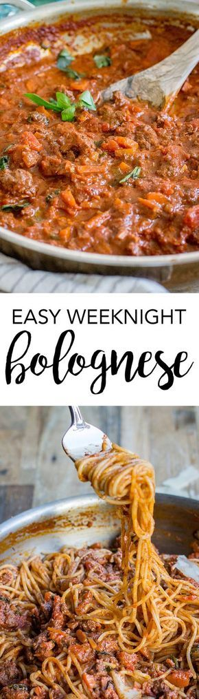 Weeknight spaghetti bolognese   A fast, simple recipe for the classic bolognese meat sauce. Perfect for comfort food on busy days! #bolognese #weeknightrecipes via @nourishandfete
