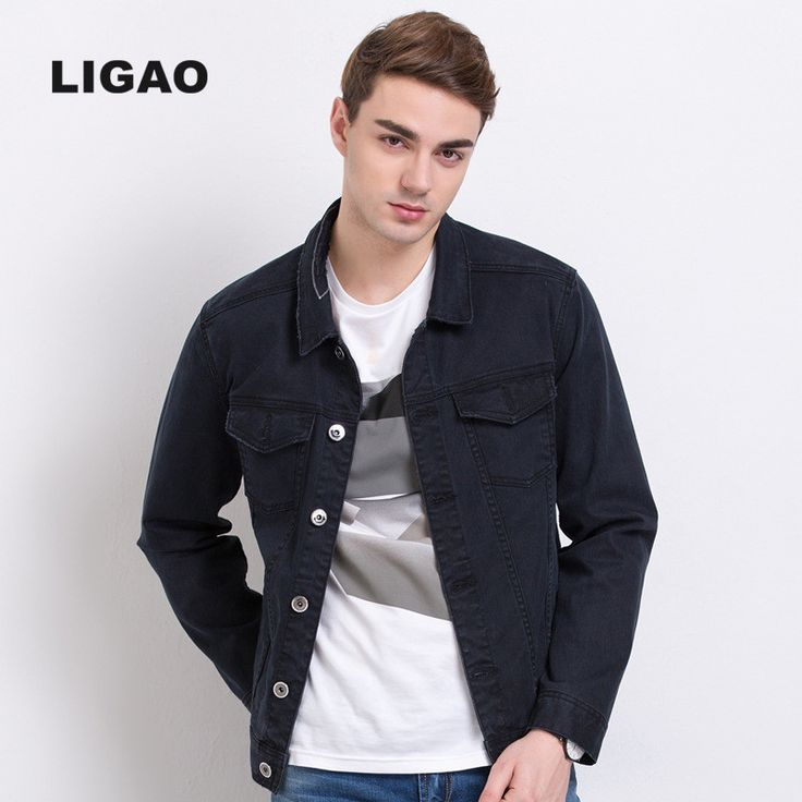 LIGAO 2017 Mens Jean Jacket Denim Jackets Coats Letters embroidery Decoration Long Sleeve 100% Cotton outwear Men Jacket S-3XL