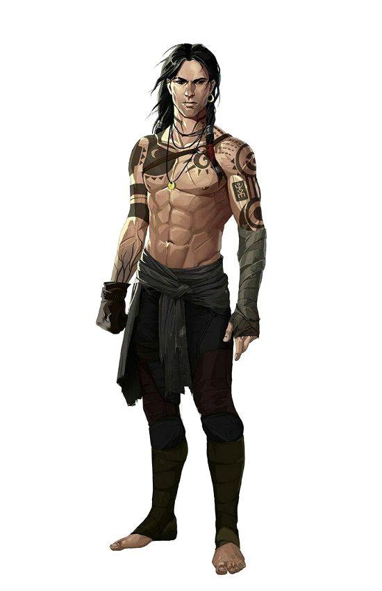 Human Tattoed Monk - Pathfinder PFRPG DND D&D d20 fantasy