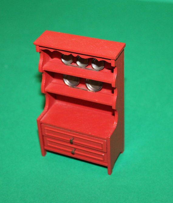 Weinlese-Puppen Haus Lundby rot Kommode mit Platten