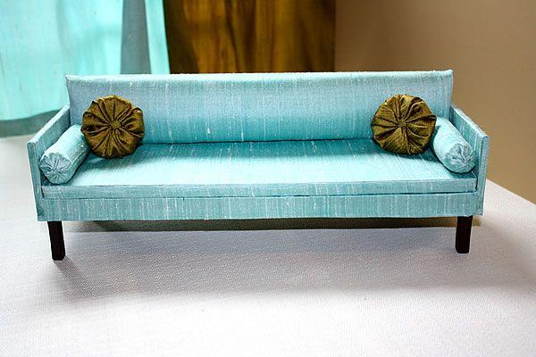 Blue Silk Sofa Mid Century Modern Furniture Nyc