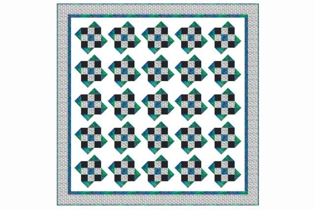 Make a Rolling Nine Patch Quilt with 'Floating' Quilt Blocks: I would change this block and use HST  and squares instead of partial seams.