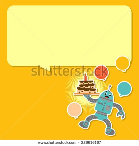 Illustration Vector Graphic of Cute Robot on Birthday Background  ( Shutterstock ID: 226616167 )
