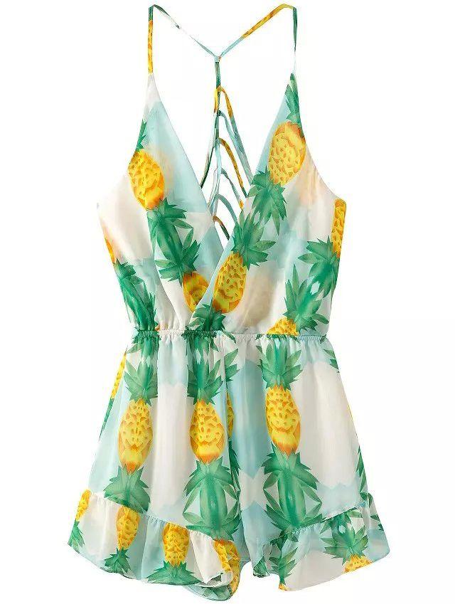 Spaghetti Strap Hollow Pineapple Print Jumpsuit ($16.67)