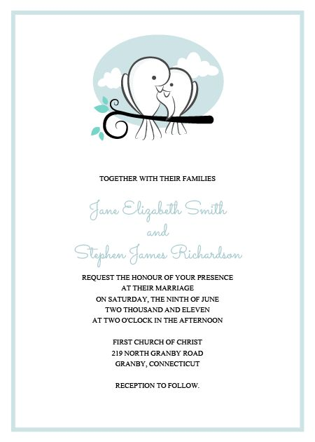 FREE PDF Download. Sweet Birds Wedding Invitation. For Customizations,  Printableinvitationkits[at]