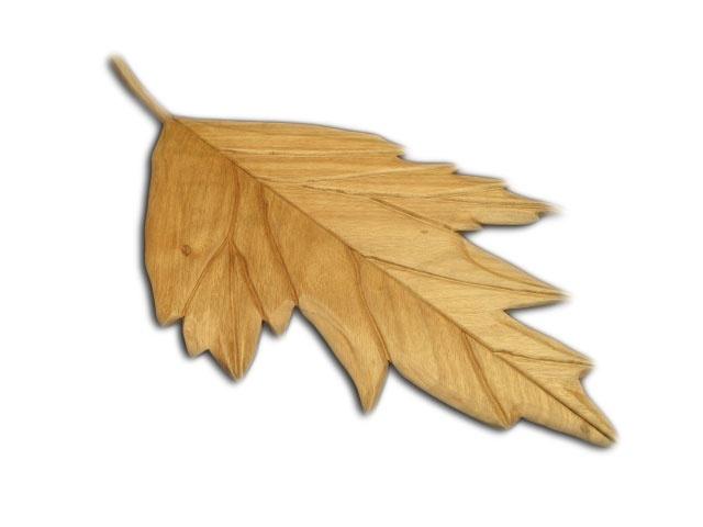 Hoja de Perejil esculpida en madera de guanacaste o machiche.