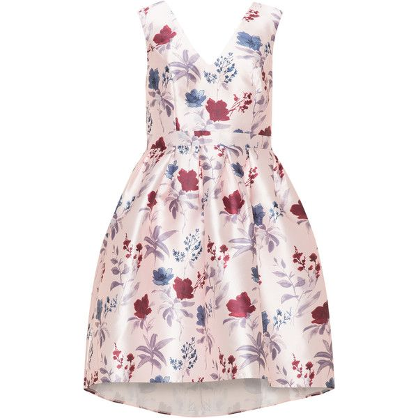 CHI CHI Curve Pink / Multicolour Plus Size V-neck dipped hem cocktail... (£59) ❤ liked on Polyvore featuring dresses, pink, plus size, floral skater skirt, plus size circle skirt, plus size floral dresses, skater skirt and deep v-neck dress