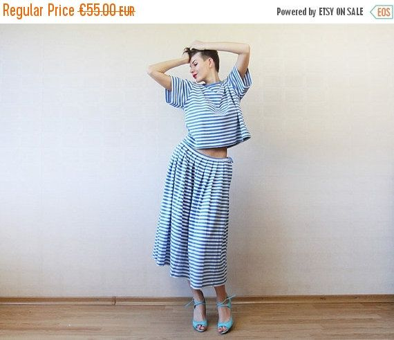 End of 2016 SALE Blue white horizontal striped nautical skirt top suit L