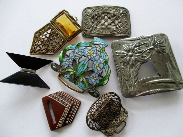 VINTAGE METAL DRESS BELT BUCKLES HALF BUCKLES ENAMELLED ART DECO FILIGREE FLORAL noelhumphrey on eBay.