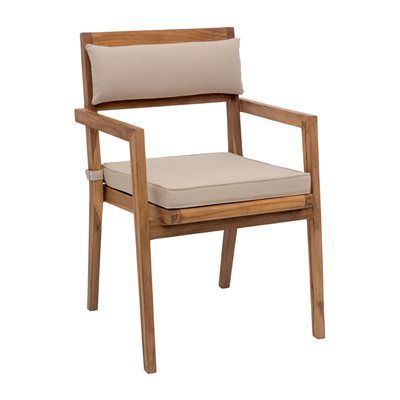 The Nautical Dining Arm Chair is made from solid unfinished teak. The grade of teak is BC, which limits the amount of knots found in the wood. The cushions are made from industry leader Sunproof fabrics, which ensure water wicking and UV resistance for any outdoor use. This chair casts an impressive and contemporary silhouette inspiring any space.