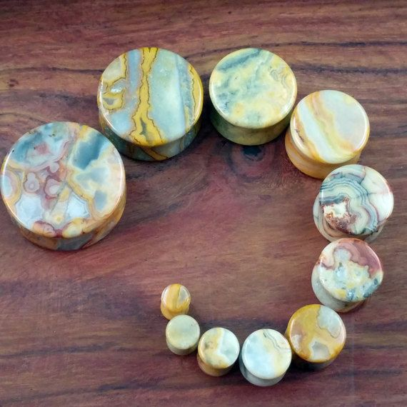 Crazy Lace Agate Plugs 25mm 22mm 19mm 16mm by AustinPlugAndTunnel