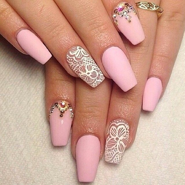baby pink eyeshadow matte | Matte baby pink & white lace nails