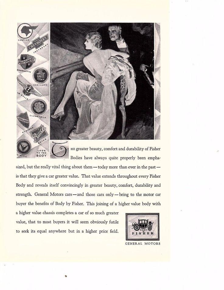 1928 Body by Fisher Body McClelland Barclay couple Art General Motors GM Ad   eBay