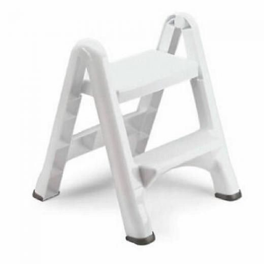 Rubbermaid White Folding 2 Step Stool 4209-03 Wht Plastic White Contemporary 4200-87 Bisq Unknown