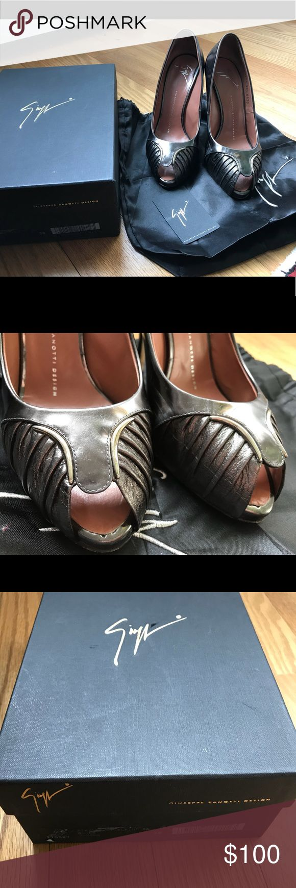 Guiseppe Zanotti dark silver heels Quilty italian leather shoes. Worn but in a good condition. Elegant and extremely comfortable. Comes with original box and dust bag. Italian size 38.5 Giuseppe Zanotti Shoes Heels #giuseppezanottiheelssilver