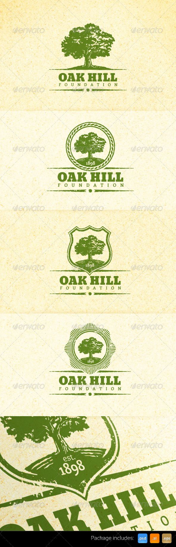 Holistic Oak Tree Vintage Emblem Logo Set - GraphicRiver Item for Sale