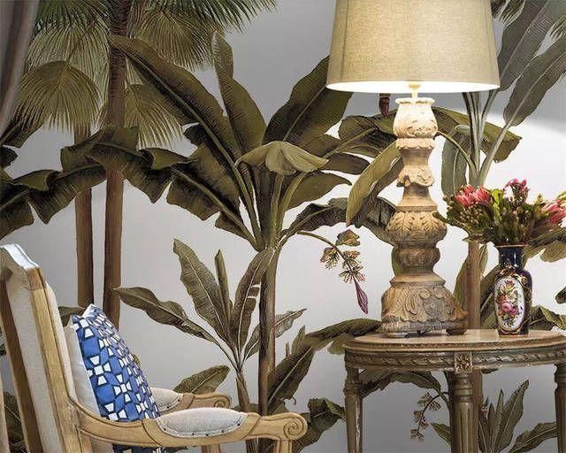 Online Shop Beibehang Custom Wallpaper Palm Tree Banana Tree Medieval Rainforest Hand Painted Tv Bac 3d Wallpaper Living Room Custom Wallpaper Living Room Wall #palm #tree #in #living #room