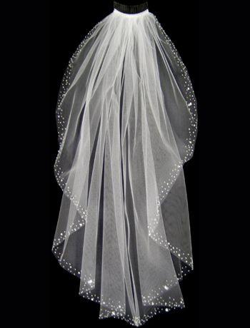 Wedding Veil with Assorted Pearls, Rhinestones, and Bugle Beaded Border $83.89