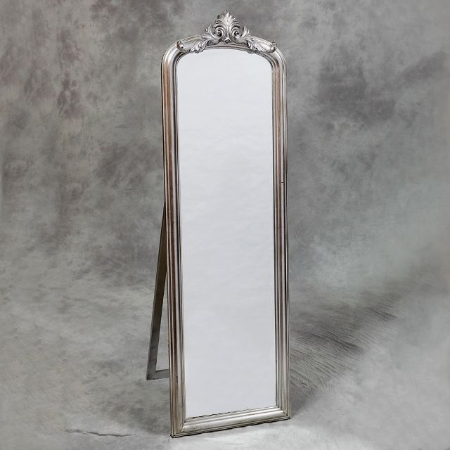 Large Silver Free Standing Full Length Dress Mirror Or