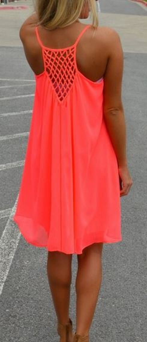 Love the Bright Coral Color! Love the Back Design! Fluorescent Orange  Hollow-out Mesh Back Chiffon Beach Dress #Coral #Pink #Beach #Dress #Fashion