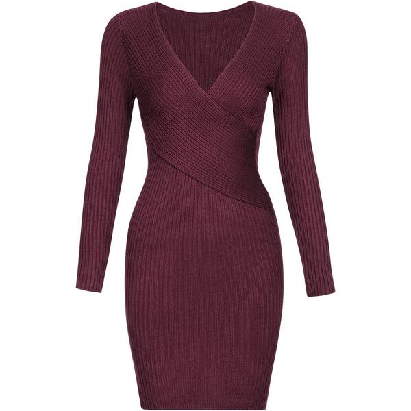 Yoins Body-con Crossed V-neck Jumper Dress (620 MXN) ❤ liked on Polyvore featuring dresses, yoins, red, red body con dress, red sweater dress, red v neck dress, v neck dress and v neck bodycon dress