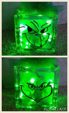 Grinch Glass Block with green lights. This block measures 6x6. The glass block is decorated on both sides with two different Grinch faces so you can enjoy this from any direction.