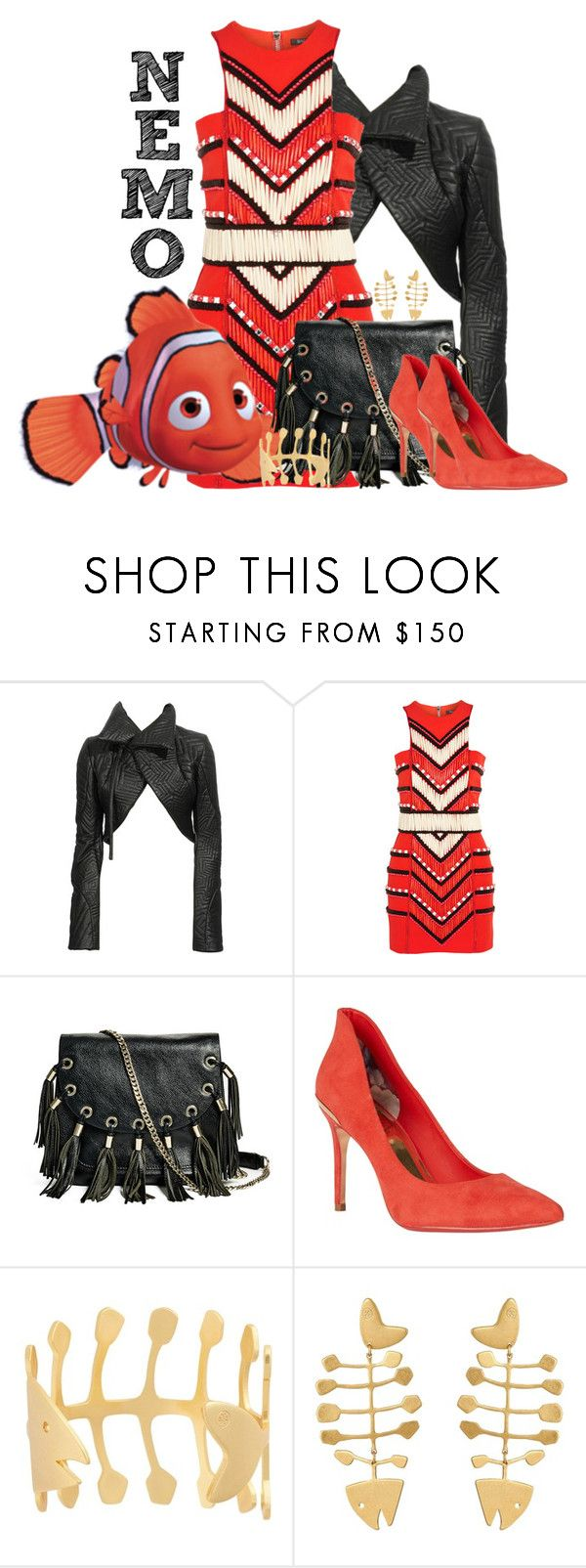 """""""Nemo"""" by janastasiagg ❤ liked on Polyvore featuring Gareth Pugh, Balmain, GUESS by Marciano, Ted Baker, Tory Burch, disney, disneybound, Nemo, findingnemo and disneyanimal"""