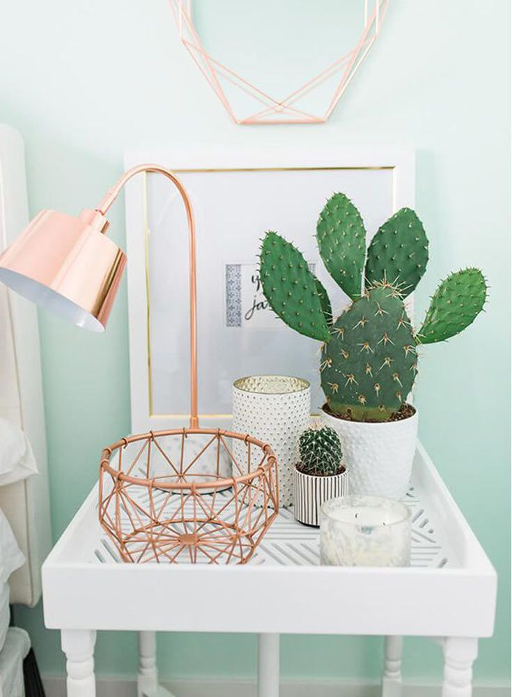 The French Bedroom Company | Urband Jungle Bedroom. We're loving the interiors trend of house plants - from concrete planters, cacti, basket pots, hanging plants, palms and so much green for your home. We love this white bedside with cacti and copper lamp with basket and light blue walls