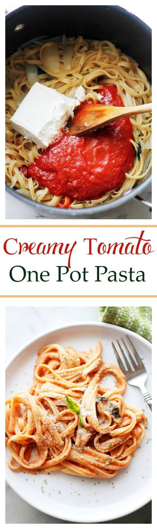 Creamy Tomato One Pot Pasta Recipe - only 25 minutes to make! | Diethood - The Best Easy One Pot Pasta Family Dinner Recipes