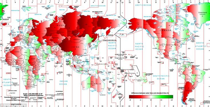 """This explains something I've always wondered... """"This map shows the difference between clock time and 'solar time'. The 'late' places are shown in red, the 'early' places in green. The deep..."""
