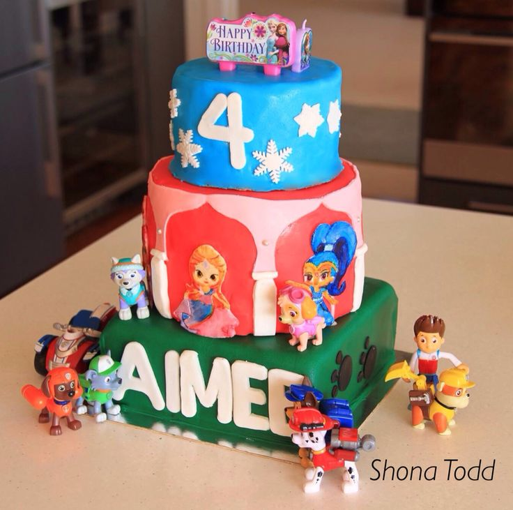 Aimee's Frozen/Shimmer and Shine/Paw Patrol themed birthday cake. The Shimmer and Shine characters are painted fondant. First time attempting a lot of the details, so finish isn't the best.