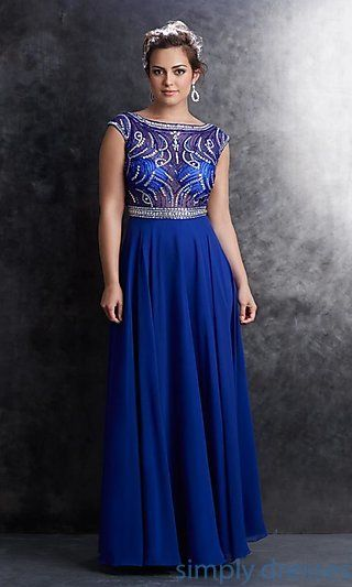 Floor Length Cap Sleeve Dress by Madison James at SimplyDresses.com
