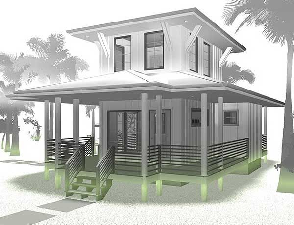 Plan 62575dj beach lover 39 s dream tiny house plan 2nd for Beach house designs with wrap around porch