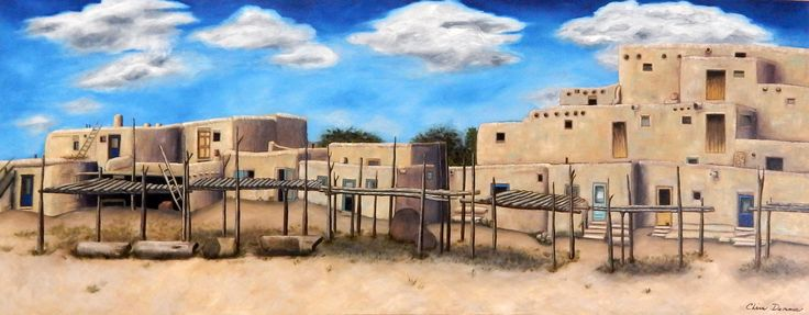 "Taos Pueblo  24 x 60""  oil Sold"