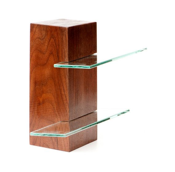 Walnut free standing shelving unit with two glass shelves, low gloss surface available at https://www.etsy.com/listing/108482185/walnut-free-standing-shelving-unit-with