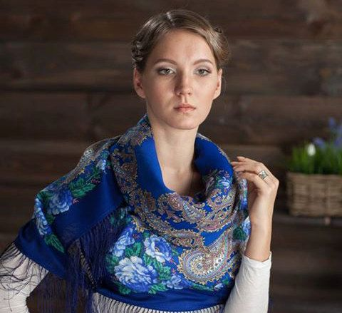 Vintage blue Russian Pavlovo Posad Wool Large Shawl by russianicon