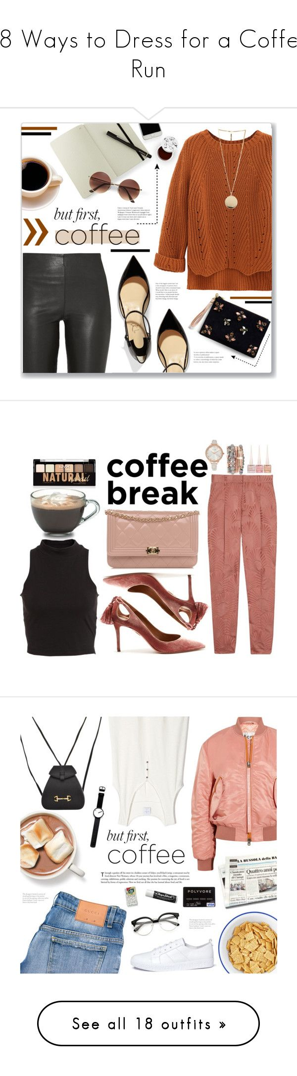 """""""18 Ways to Dress for a Coffee Run"""" by polyvore-editorial ❤ liked on Polyvore featuring nationalcoffeeday, By Malene Birger, WithChic, Moleskine, Givenchy, Christian Louboutin, Angela Valentine Handbags, too cool for school, NYX and Vionnet"""