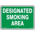 14 in. x 10 in. Designated Smoking Sign Printed on More Durable, Thicker, Longer Lasting Styrene Plastic, Green & White
