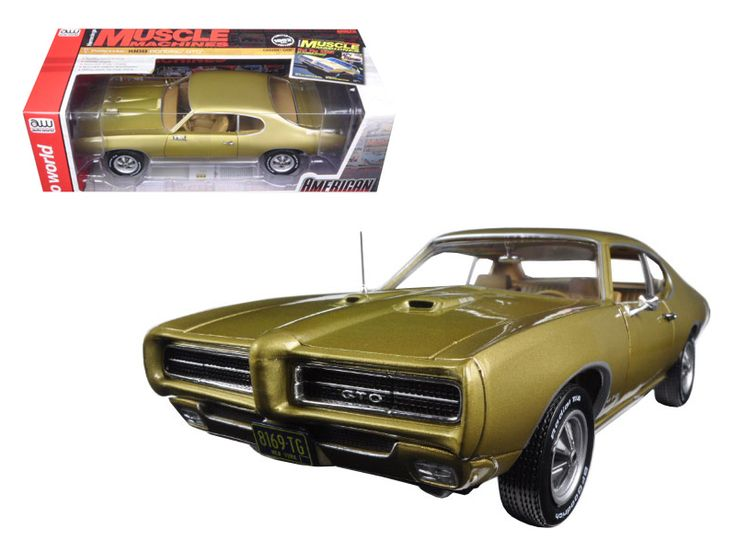 "1969 Pontiac GTO Hardtop Antique Gold ""Hemmings Muscle Magazine"" Limited Edition to 1002pc 1/18 Diecast Model Car by Autoworld - Brand new 1:18 scale diecast car model of 1969 Pontiac GTO Hardtop Antique Gold ""Hemmings Muscle Magazine"" Limited Edition to 1002pc die cast model car by Autoworld. Brand new box. Rubber tires. Serialized chassis. Dual hood scoops. Has steerable wheels. Torque thrust wheels. Made of diecast metal. Detailed interior, exterior. Has opening hood and doors. Accurate…"