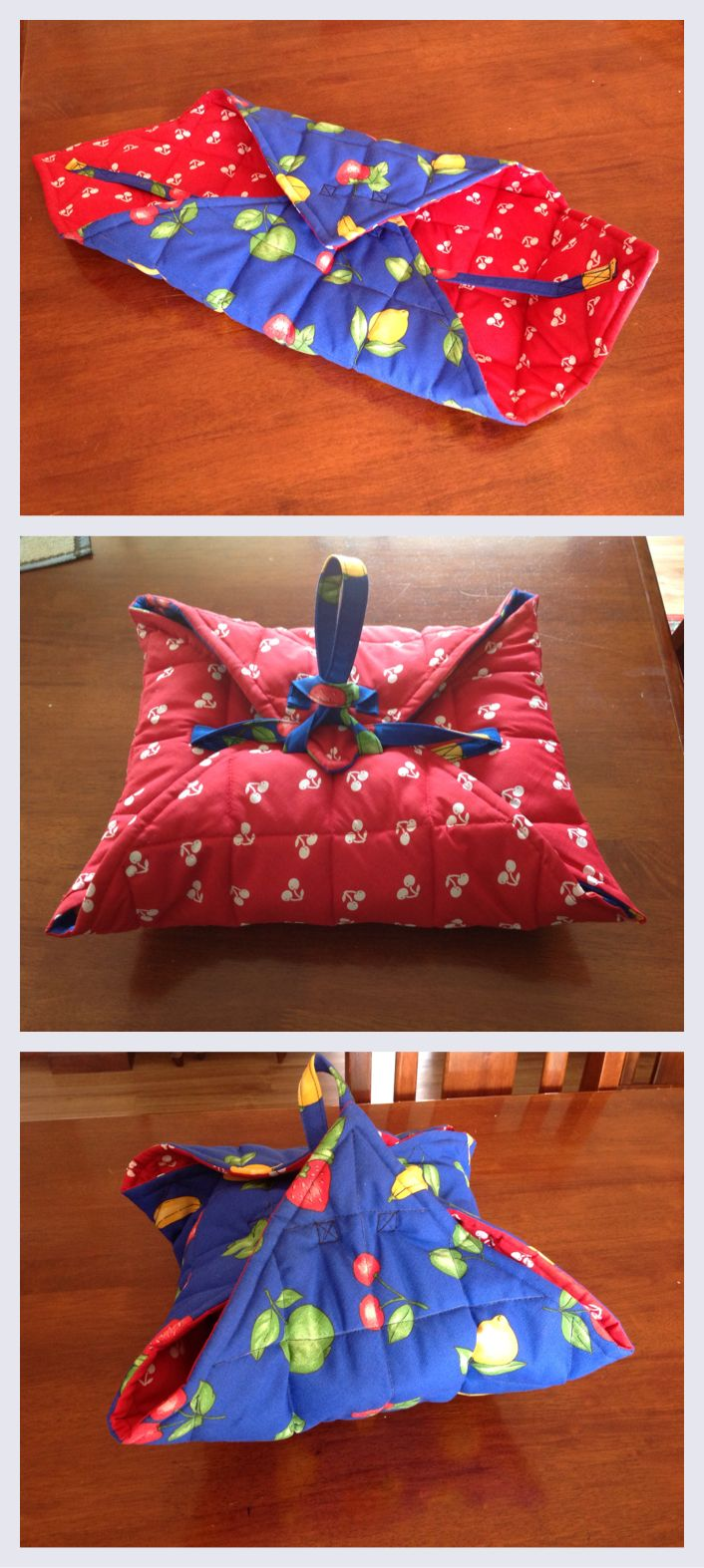 Second sewing project complete! Reversible casserole carrier