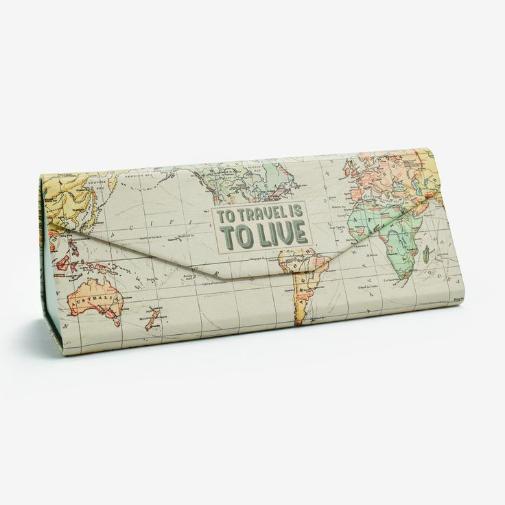 "Seen at Wordsworth The ""To travel is to live"" folding glasses case is beautiful and practical. Featuring a magnetic closure system and a soft velvet interior, it is perfect for storing your glasses. When you want to put them on, you can simply fold the storage case. Whateve"