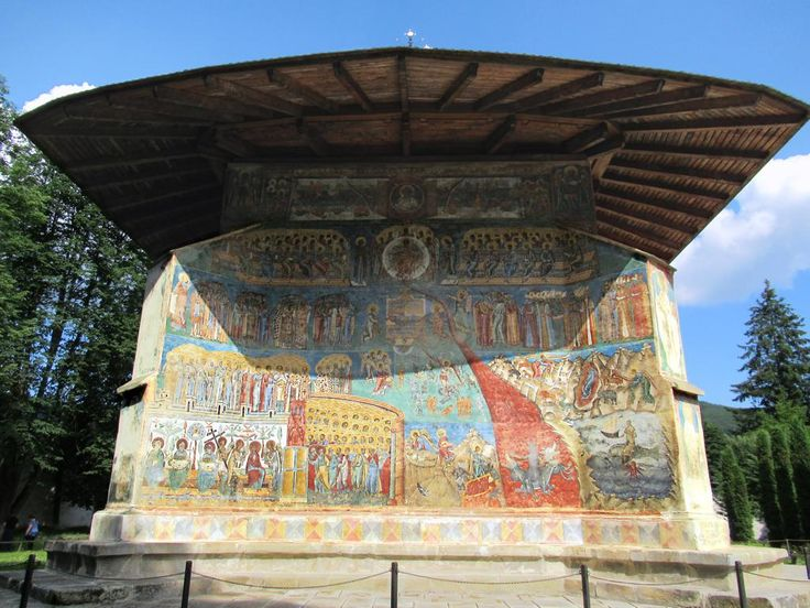 A fresco of the Last Judgement is on the west exterior wall of Voronet Monastery in Bukovina, Romania.