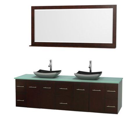 Wyndham Collection Centra 80 Inch Double Bathroom Vanity In Espresso, Green  Glass Countertop, Altair