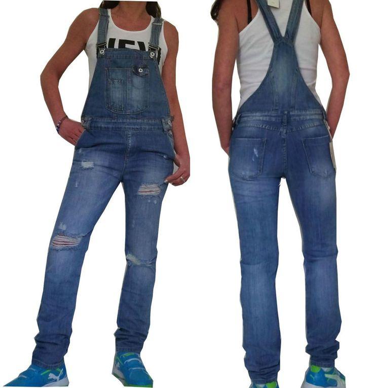 NEU Lässige Damen Latzhose Jeans Overall Risse distressed  Boyfriend 34 36 38 40