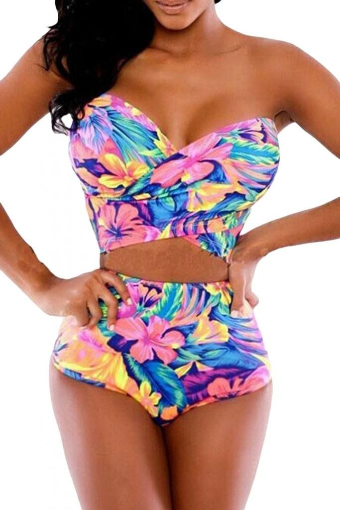 Dear-Lover Women's High-waisted Strapless Floral Print Bikini Set Large Multicoloured