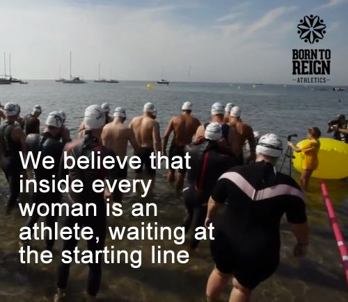 Plus size athlete participating in an open water swim race