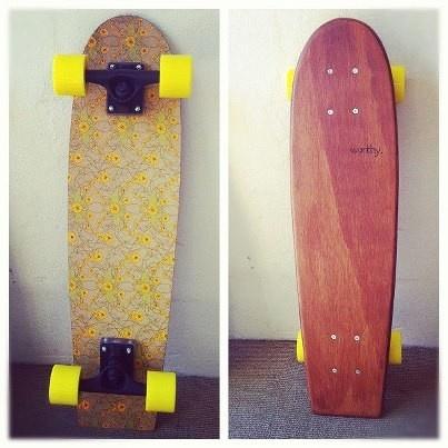 Hand-made retro timber skateboard