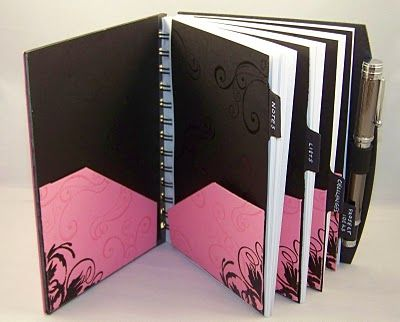 Studio A Paper Creations: The Pink Desk Ensemble dividers in altered notebook - love the idea