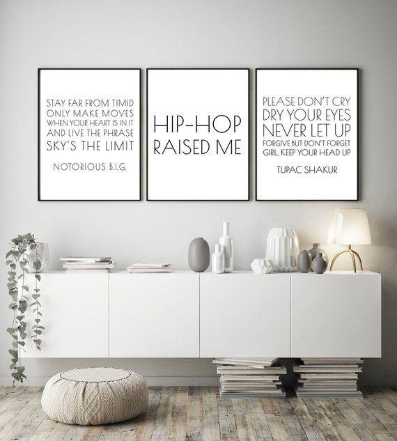 Set Of 3 Hip Hop Printables Rap Lyric Diy Posters Instant Etsy Bible Verse Wall Art Bible Verse Wall Christian Decor